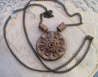 Medallion necklace, copper bronze pendant, 2  beads, copper necklace,  handmade clay items, boho style, unique designs, bronze chain