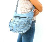 jean bag reclaimed jeans bag Lady Women Bag Bohemian Bag Crossbody Bag Tote bag Boho Hobo Bag Handbags purse Hippie Gift Bags