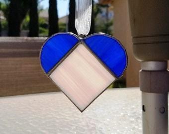 Blue and Pink Heart Suncatcher