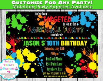 Paintball Party Invitation, Paintball Party, Paintball Birthday Invitation, Boys Paintball Invitation, Paintball Invitation, Boys Birthday