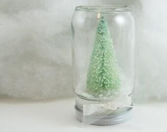 Mint Green Tree Dry Snowglobe Christmas Holiday Decor Handmade White Half-Pint Small jar waterless frosty white snow bow