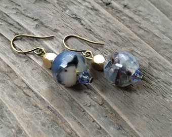 """The """"Soda Springs"""" Earring, Marbled Agate and Swarovski Crystal"""