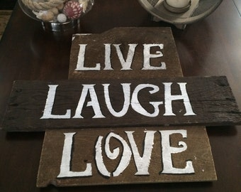 """Wooden Sign, Wooden Wall Decor, Wood Sign, Wall Decor """"Live, Laugh, Love"""" Wooden Wall Art, Pallet Sign"""
