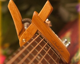Bamboo ~ Wooden Guitar Capo ~ Adjustable Tension ~ WoodenK ~ (Acoustic, Electric, Classical, Banjo & Ukulele)