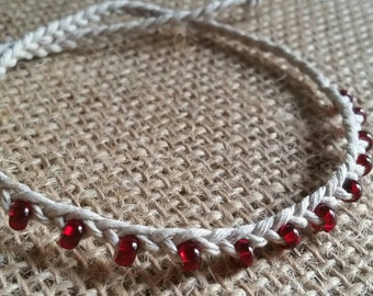 Fringe Beaded Braided Hemp Anklet - Tie On