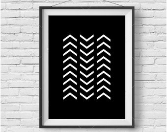 Minimalist Print, Black & White Poster, Chevron Print, Geometric Art, Simple Print, Scandinavian Art, Monochromatic Decor, Digital Poster