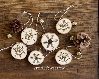 Birch Snowflake Christmas Ornament or Gift Tag - Ornament/Tag - Woodburned Snowflakes - Stone and Willow