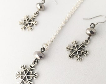 Cute Winter Wonderland Wedding Set Snowflake Necklace - Snowflake Necklace Silver And Snowflake Earrings - Silver Snowflake Earrings Silver