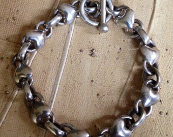 """Sterling Silver - 10mm Love Heart Chain Toggle 20.2g - Bracelet (7"""") or Best Offer"""