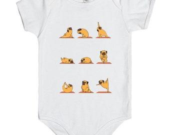 Pug Yoga Onesie, Pug Yoga Bodysuit, Baby Onesies cute ,Gift baby onesies