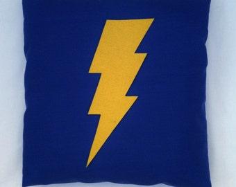 The Flash - Blue Retro Superhero Cushion Pillow Cover Yellow Lightening Bolt Felt Design Appliqué 14 16 18 20 22 24 inch size large