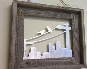 Metal Art City Birds, Metal Wall Art, City Skyline, Wall Decor, Contemporary Art, Rustic Decor, Home Decor, Custom Sign, Custom Art