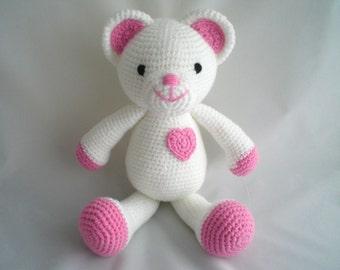 Crochet Teddy Bear / Amigurumi Teddy Bear / Crochet Love You Teddy Bear /  Hand Made, larger size, Teddy With Pink Heart / Crochet Plush Toy