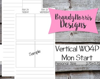 Jan 2016-Dec 2016_WO4P Vertical Week on four Pages_Personal Size_EC Inspired_Dated_Weekly inserts_PRINTABLE PDF
