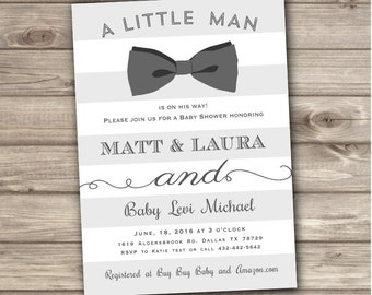 Bow Tie Baby Shower Invitations Little Man Printable Stripe Digital Navy Teal Aqua Blue Boy Rustic Vintage Oh Boy Boy Shower its a boy NV617