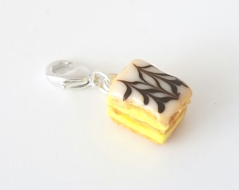 Miniature French Pastry Chocolate Mille Feuille Charm or necklace, Miniature food jewelry,  classic food Napoleon harm, French Pastry