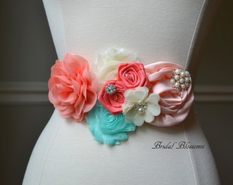 ADY Coral Aqua Ivory Maternity OR Bridal Sash | Flower Belt | Gender Neutral Photo Prop | Fabric Flower Girl Sash | Coral Orange Cream