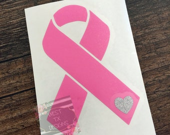 Cancer Ribbon Decal | Breast Cancer Ribbon | Cancer Awareness | Vinyl Decal