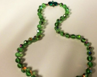 Antique Glass Bead Necklace - Green