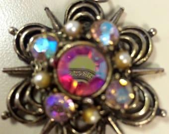 1950s vintage pink crystal pendant