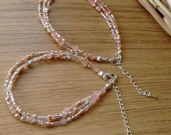 Pale Rose multi-strand beaded bracelet * pink bracelet