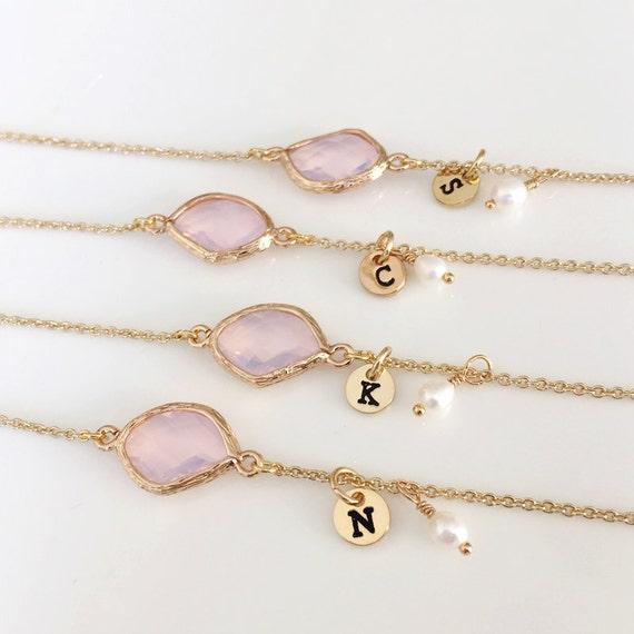 pink charm gold bracelet