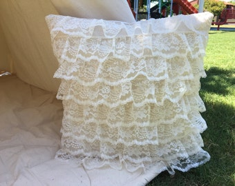 Glamour ruffle lace pillow cover with nature unbleached canvas base