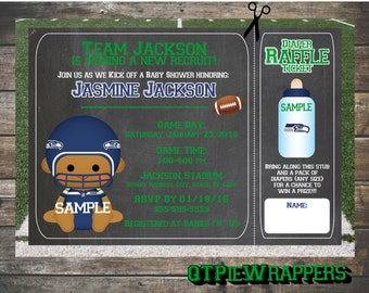 Printable Seattle Seahawks Football Baby Shower Invitations Boy and Girl Cheerleader Personalized attached Raffle Ticket
