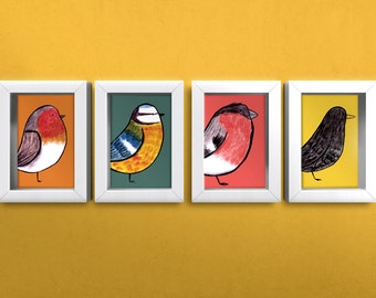 Set of 4 Illustrated Bird Prints - 5x7inch