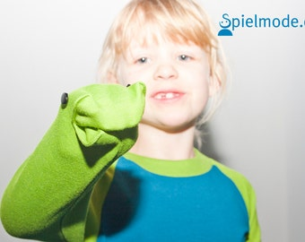 The cheeky Froggy - long sleeve with hand-puppet on the sleeve - green-blue