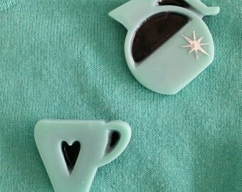Coffee pot & coffee cup brooch set