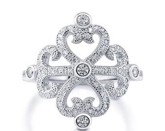 Sterling silver Art Deco filigree ring