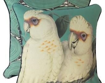 Teal Corellas cushion cover
