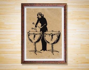 Music art print Drum poster Antique decor