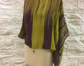 Hand woven asymmetry sleeve blouse