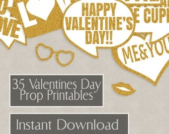 35 Valentine's Day Glitter Gold Props Printables, diy photo party, photo booth, valentine's props, love speech bubbles, photobooth selfies