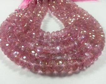 6 mm - 7 mm , AAA Pink Topaz Rondelle Faceted Beads , 55 Beads , 8 inch