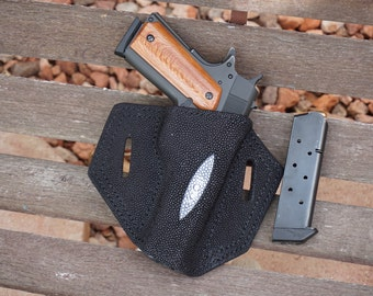 Stingray and vegtable tanned leather holster for 1911.