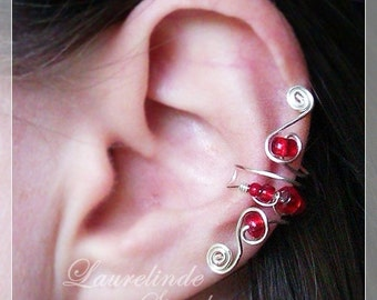 Silver wire earcuff, red and silver earclip, non pierced earrings,