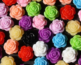 100 x 10mm Resin Rose Embellishments, Random Mix Of Colours