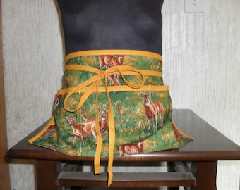 Waitress half apron with 3 pockets. Natural deer in a field with gold trim and ties.