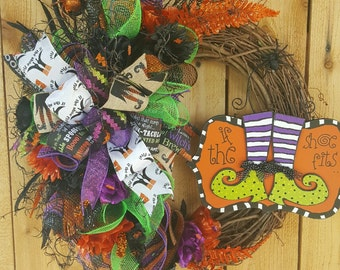 Free Shipping-Halloween Witch Wreath-Witch Mesh Wreath-Halloween Wreath-Halloween Grapevine Mesh Wreath-Grapevine Wreath-Witch Door Wreath