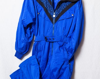 Retro Ski Suit, 80's Women's Blue Winter Snowsuit, 80's Blue One Piece Snow Suit Size Small Medium, Vintage Ski Suit