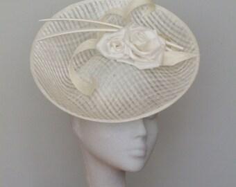 Ivory Fascinator Derby Hat-Royal Ascot-Mother of Bride - Sarah