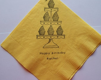 Cupcake Tower Happy Birthday Napkins - Set of 50