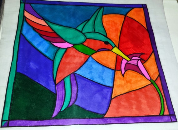 Humming bird stained glass window decal by shortyscrafthouse for Make your own stained glass window film