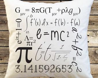Math Geek Pillow Cover with math and science formulas e=mc2, pi, pillowcase, throw pillow, pillow case, math teacher gift; subway art