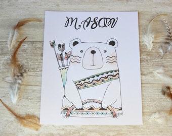 Personalized Nursery Art, Tribal Nursery Decor, Kids Name Sign, Rustic Nursery Decor, Tribal Nursery Prints, Bear Wall Art, Nursery Wall Art