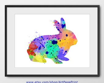 Rabbit Print, Rabbit Watercolor Print, Animal Print, Rabbit Nursery Painting, Rabbit Wall Art, Nursery Decor, Animal Nursery (NoA0152)