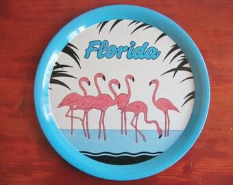 Vintage Made In Hong Kong Metal Tray Souvenir Of Florida